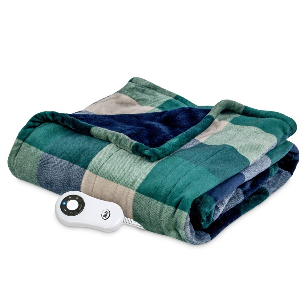 "Image of ""50"""" x 60"""" Silky Plush Electric Throw Blanket Green/Navy Plaid - Serta"""