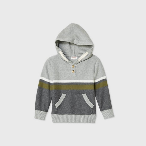 Toddler Boys' Striped Hoodie Pullover Sweater - Cat & Jack™ Gray - image 1 of 1