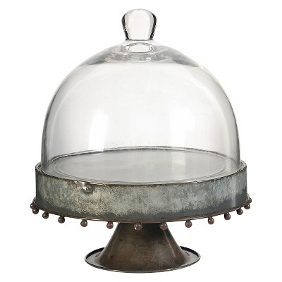 Metal Stand with Glass Dome - Clear (8.5 x9.5 )