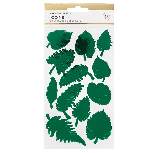 48pc Leaf Stickers Green Foil - American Crafts - image 1 of 3