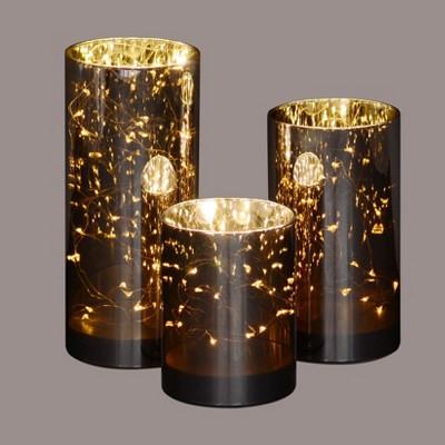 "Northlight Set of 3 Prelit LED Galaxy Night Glass Jars 9"" - Brown/Gold"
