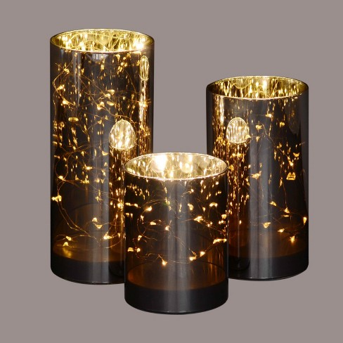"""Northlight Set of 3 Prelit LED Galaxy Night Glass Jars 9"""" - Brown/Gold - image 1 of 2"""