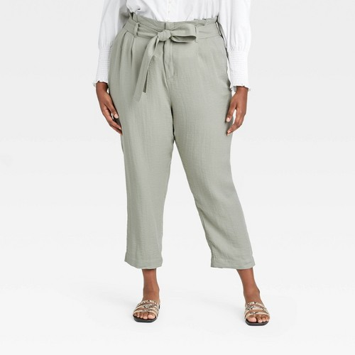 Women S Plus Size High Rise Paperbag Ankle Pants A New Day G