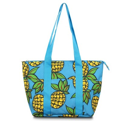 Zodaca Women Fashion Large Insulated Zip Top Closure Picnic Lunch Tote Double Handles Carry Bag - Pineapple