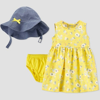 Baby Girls' Floral Top & Bottom Set with Hat - Just One You® made by carter's Yellow