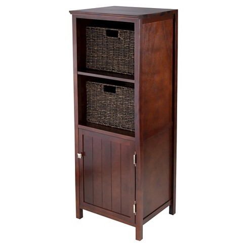 3 Piece Brooke Jelly Cupboard Set with Baskets Wood/Walnut - Winsome - image 1 of 3
