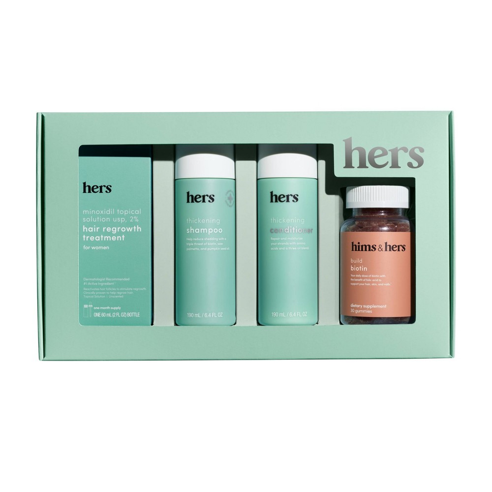 Image of hers Minoxidil Solution,Shampoo,Conditioner,Supplement Hair Kit - 4pc