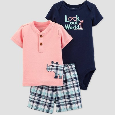Baby Boys' 3pc Rhino Embroided Top and Plaid Bottom Set - Just One You® made by carter's Pink/Navy Newborn