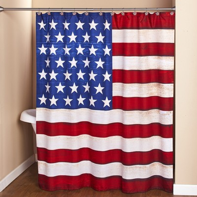 Lakeside American Flag Bathroom Shower Curtain - Patriotic Restroom Accent