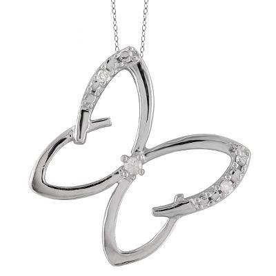 "120 CT. T.W. Round-Cut White Diamond Prong Set Butterfly Pendant - White (18"")"