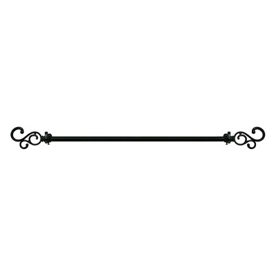 Achim Metal Buono II Medley 66 to 120 Inch Decorative Adjustable Curtain Hanger Rod Pole Holder with Ornate Finials for Bathroom or Bedroom, Black