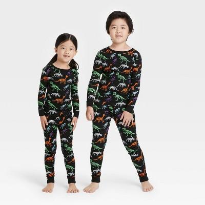 Kids' Halloween Dino Skeleton Print Matching Family Pajama Set - Black