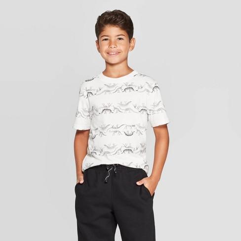 Boys' Short Sleeve T-Shirt - Cat & Jack™ Cream - image 1 of 3