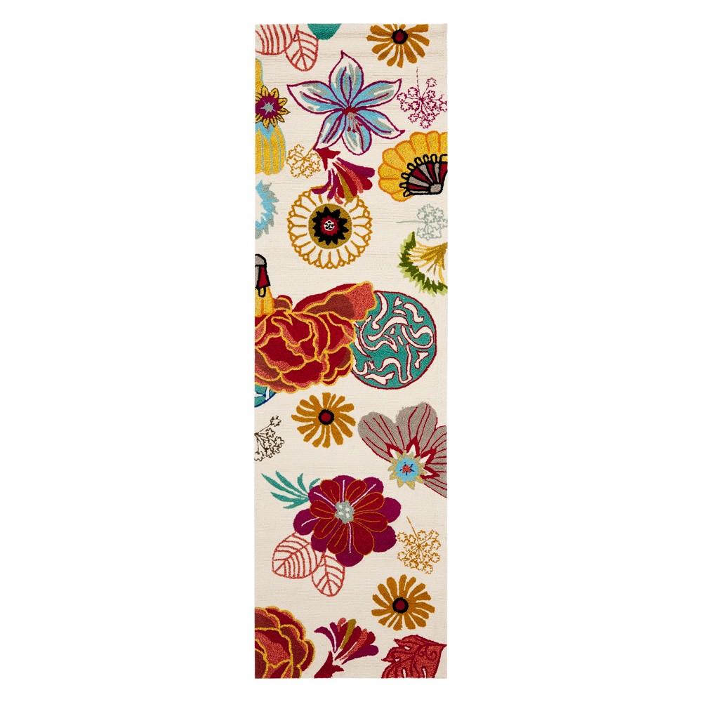 2'3X6' Floral Runner Ivory/Red - Safavieh, White