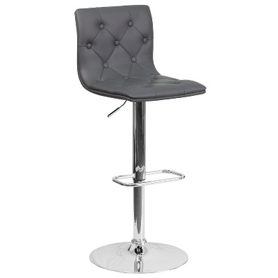 Flash Furniture Contemporary Button Tufted Vinyl Adjustable Height Barstool with Chrome Base