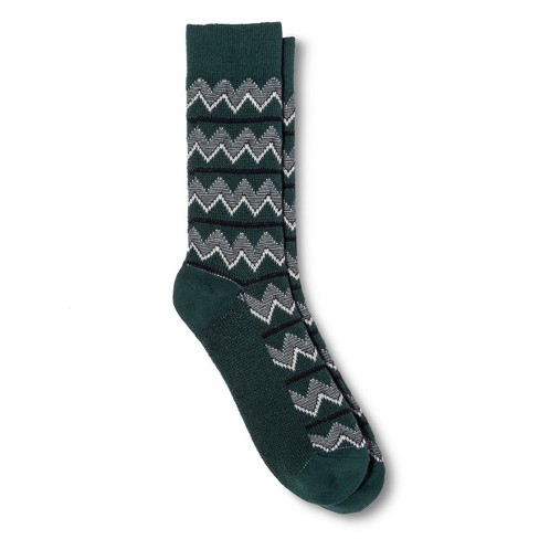 Men's Zigzag Hiker Socks Dark Green One Size - Mossimo Supply Co™ - image 1 of 1