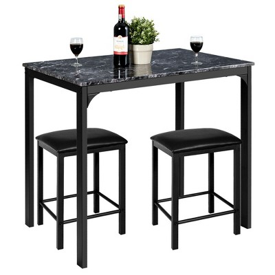 3 Piece Counter Height Dining Set Faux Marble Table 2 Chairs Kitchen Bar