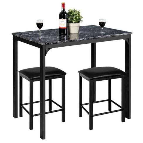 3 Piece Counter Height Dining Set Faux Marble Table 2 Chairs Kitchen Bar Target