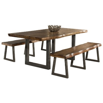 3pc Emerson Rectangle Dining Set with 2 Benches Natural - Hillsdale Furniture