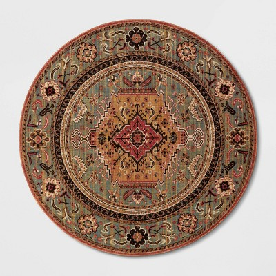 8' Round Floral Woven Area Rug Red - Threshold™