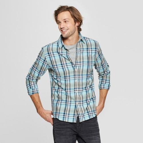 Men's Plaid Long Sleeve Cotton Slub Button-Down Shirt - Goodfellow & Co Alpine M