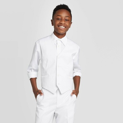 Oxford Boys' Sleeveless Suit Vest - White