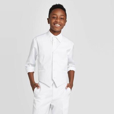 Oxford Boys' Sleeveless Suit Vest - White