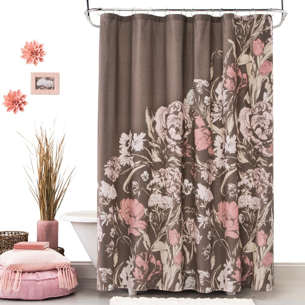Leaf Coral Stone Shower Curtain White - Opalhouse