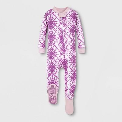Burt's Bees Baby® Baby Girls' Organic Cotton Tie-Dye Footed Pajama - Purple 12M