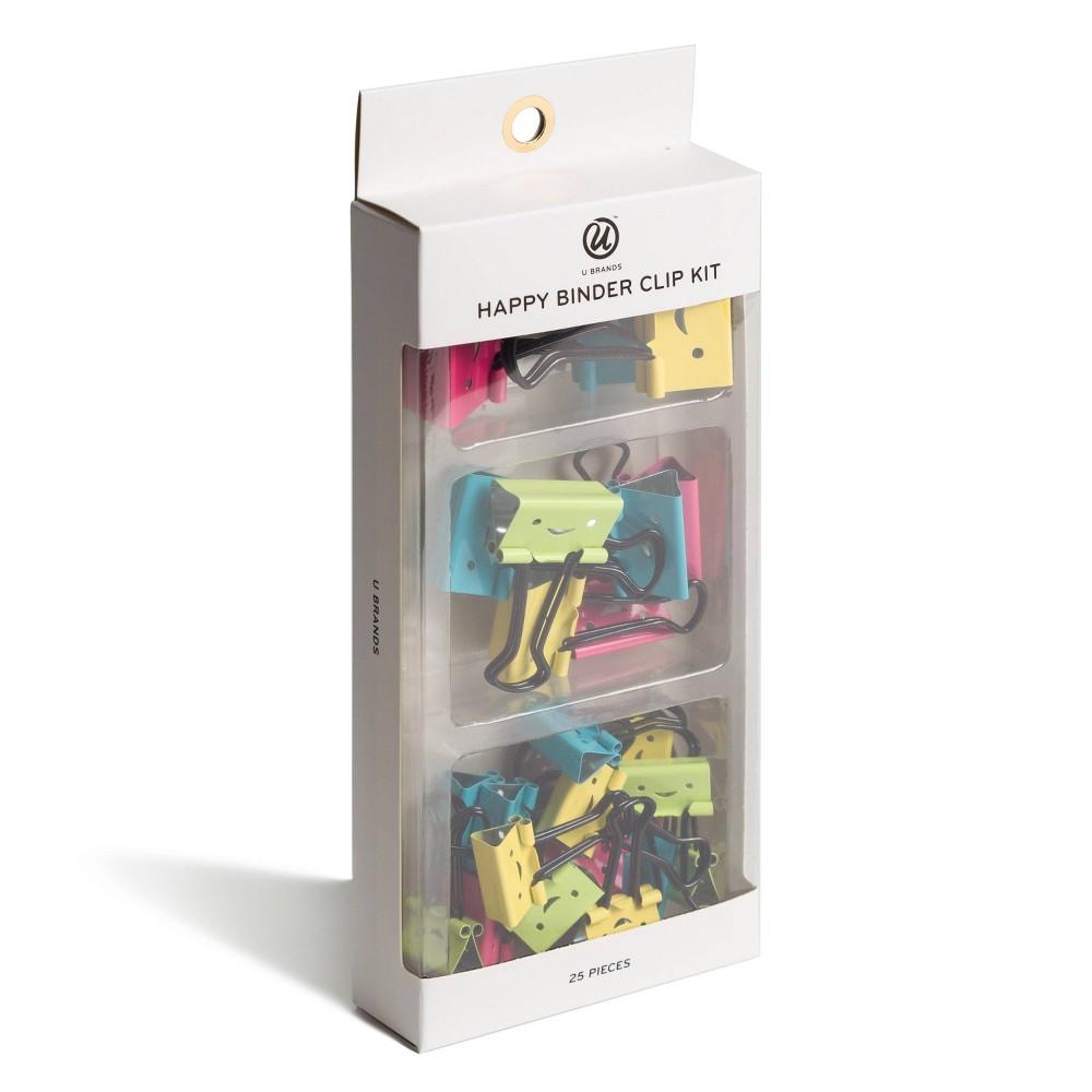 Image of 25pk UBrands Happy Face Binder Clip Kit