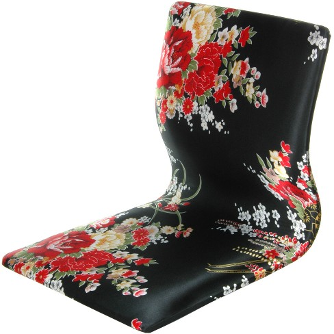 Tatami Meditation Backrest Chair Black And Red Hibiscus - Oriental Furniture - image 1 of 3