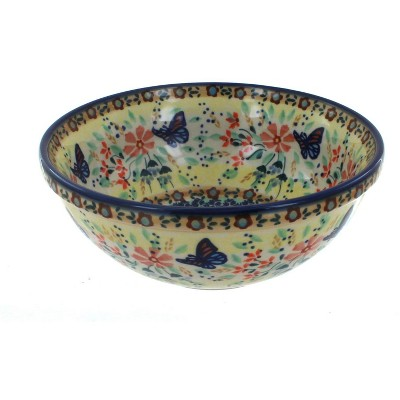 Blue Rose Polish Pottery Blue Butterfly Cereal/Soup Bowl
