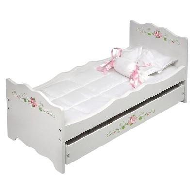 Badger Basket White Rose Doll Bed With Trundle : Target