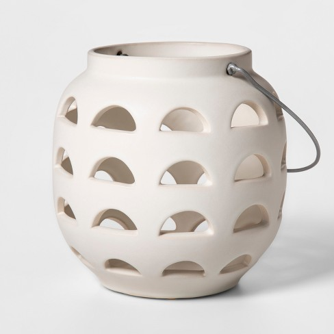 """7.8"""" x 7"""" Earthenware Lantern Candle Holder White - Project 62™ - image 1 of 4"""