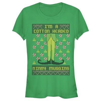 Junior's Elf Pixel Cotton-Headed Ninny Muggins T-Shirt