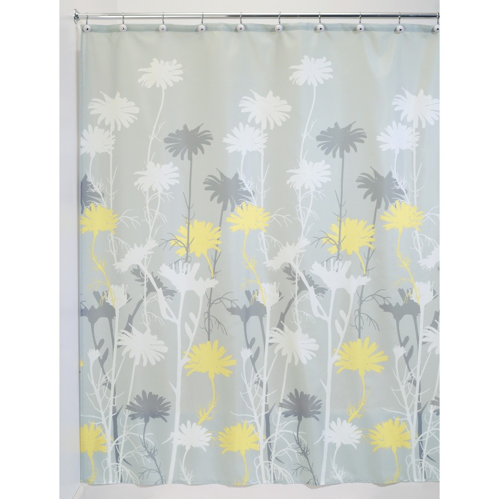Daisy Polyester Shower Curtain Gray Yellow Idesign
