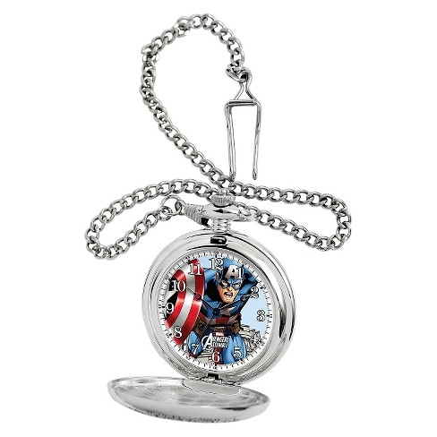 Men's Marvel Captain America Silver Pocket Watch - Silver - image 1 of 2