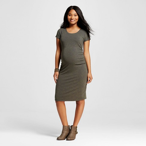 Maternity Spacedye Short Sleeve T Shirt Dress Olive Green Xs Liz
