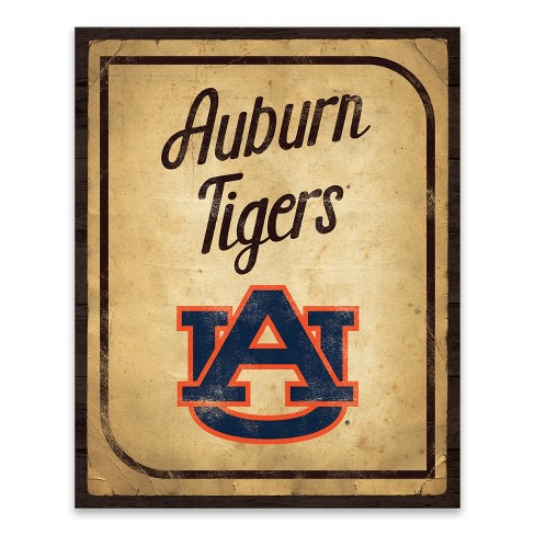 NCAA Auburn Tigers Vintage Card Printed Canvas