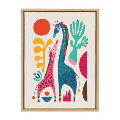 "18"" x 24"" Sylvie Giraffe Love Framed Canvas Wall Art by Rachel Lee Natural - Kate and Laurel"