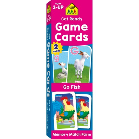 Get Ready Game Cards 2-pack - Go Fish & Memory Match Farm, Ages 3-Up (School Zone Publishing) - image 1 of 4