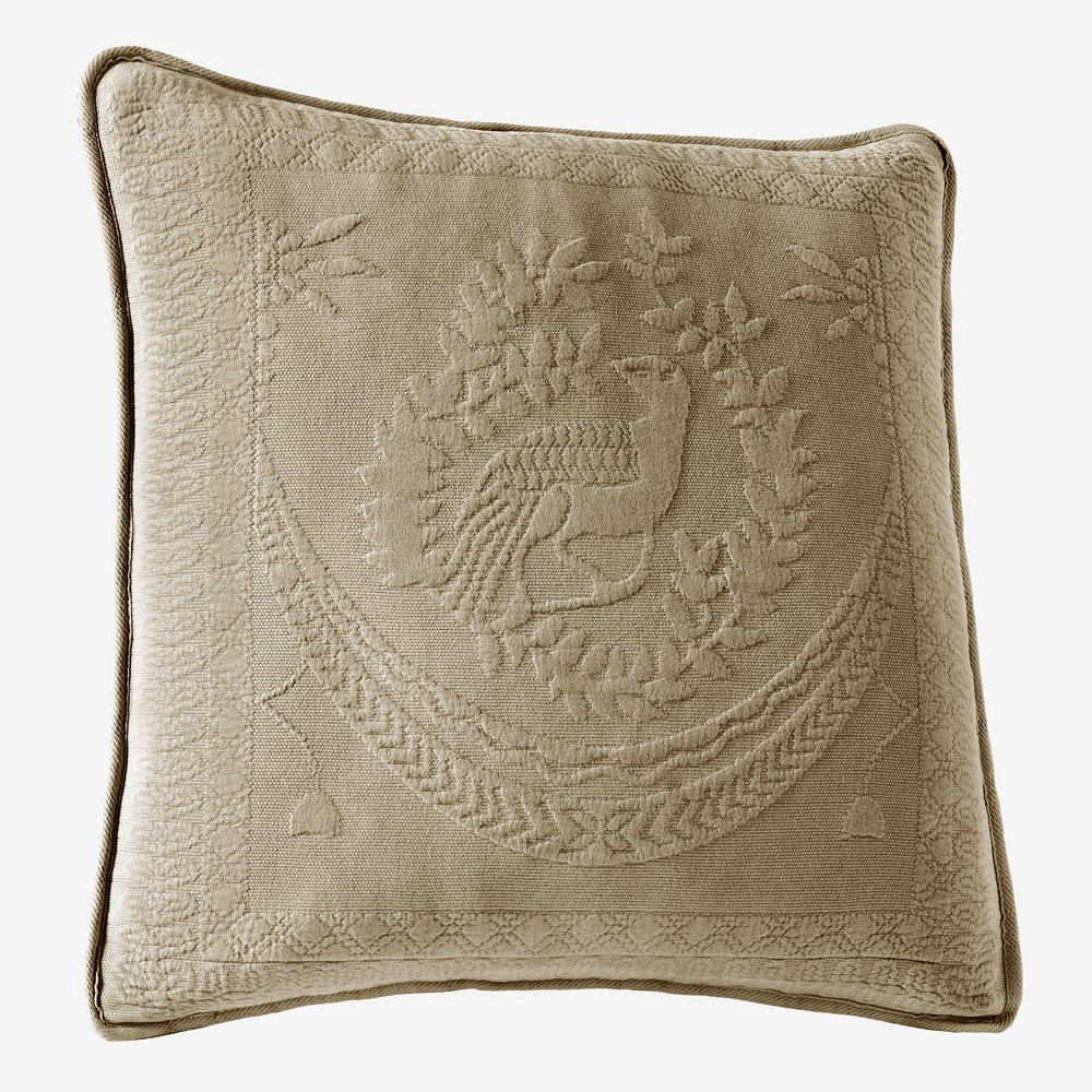 Image of Birch (Brown) King Charles Matelasse Throw Pillow (20x20) - Historic Charleston