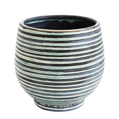 Round Striped Terracotta Planter - Aqua - 3R Studios