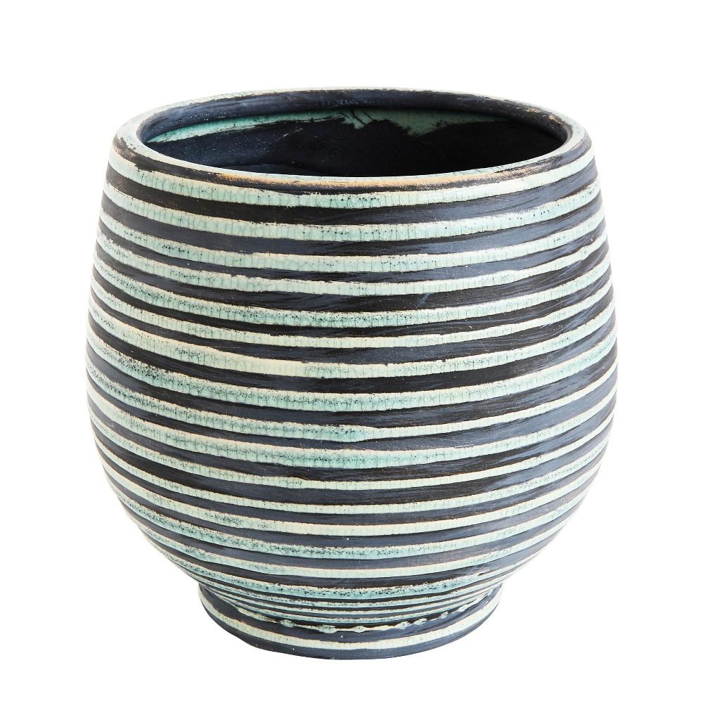 Image of Round Striped Terracotta Planter - Aqua - 3R Studios, Blue