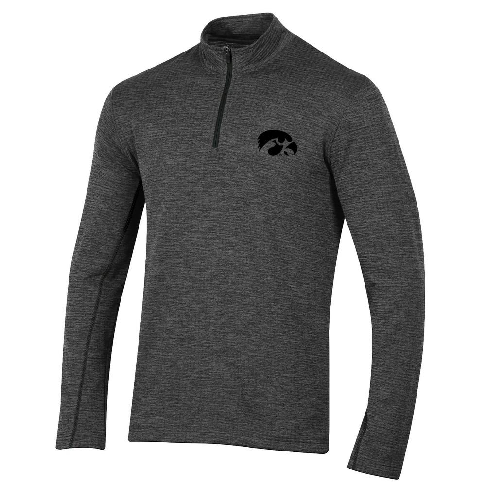 Iowa Hawkeyes Men's Long Sleeve Digital Textured 1/4 Zip Fleece - Gray S
