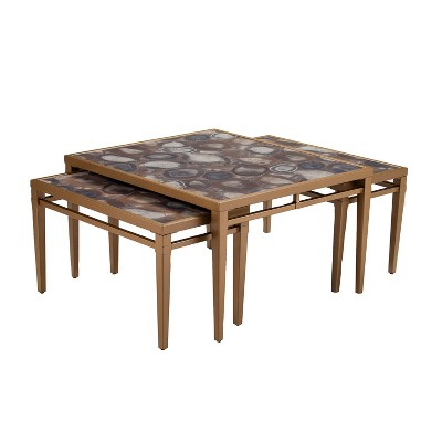 Beau Set Of 3 Ideena Faux Stone Nesting Coffee Tables Gold   Aiden Lane