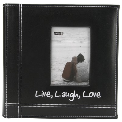 """Pioneer Embroidered Stitched Leatherette Photo Album 9""""X9""""-Live, Laugh & Love - Black"""