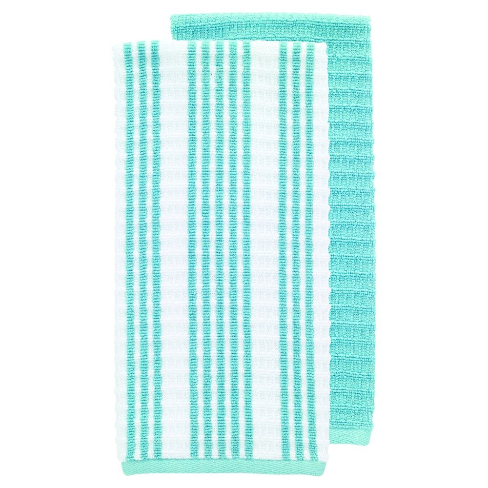 "Image of ""2pk Teal (Blue) Solid & Stripe Waffle Terry Kitchen Towel (16""""x28"""") - T-Fal"""