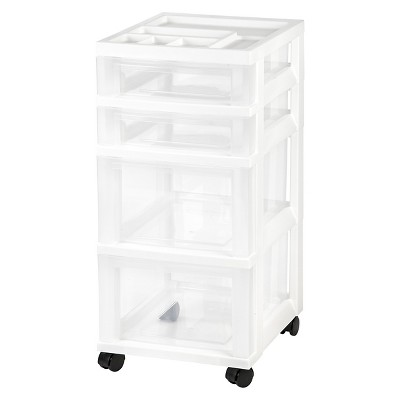 IRIS 4 Drawer Rolling Storage Cart White