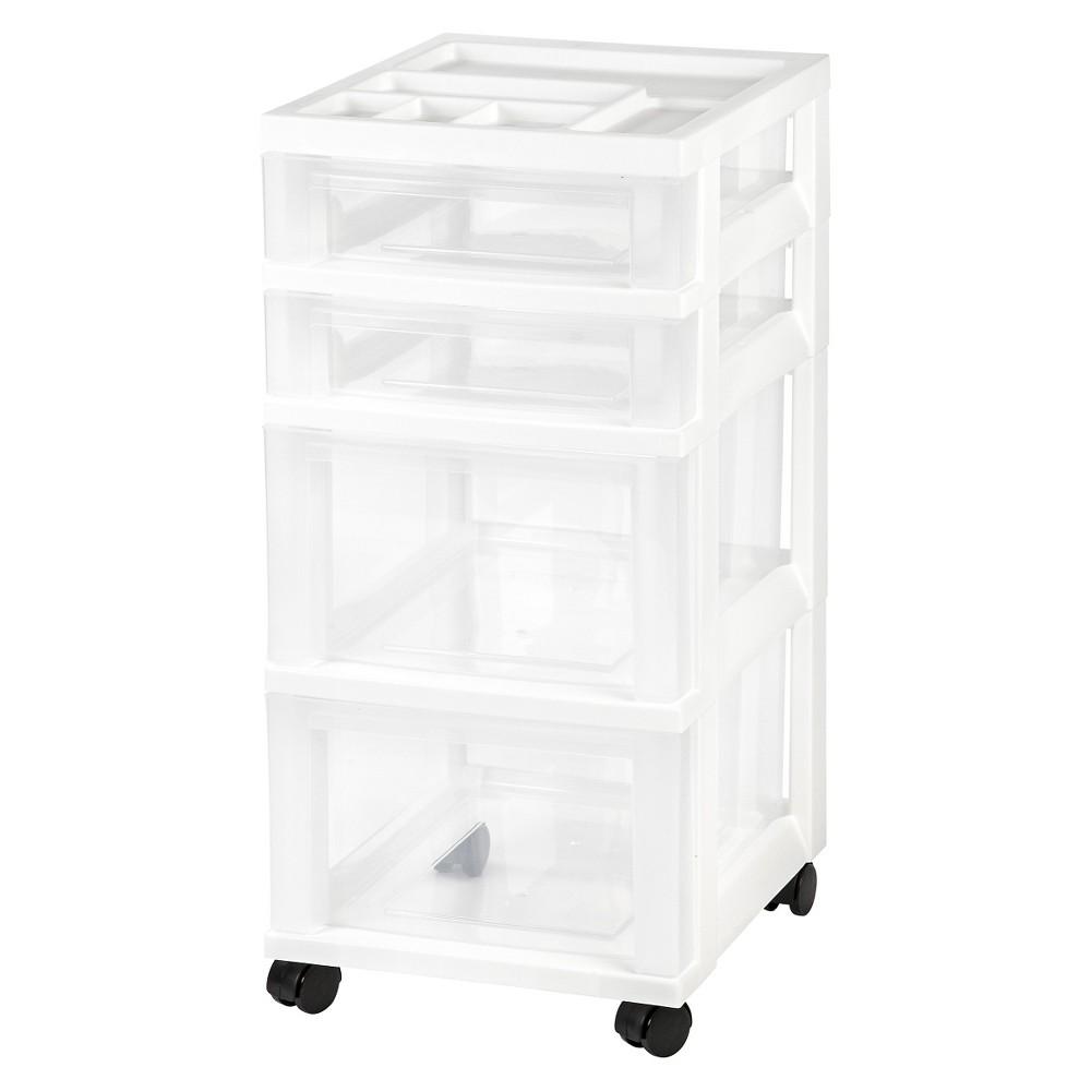 Iris 4 Drawer Rolling Storage Cart, White